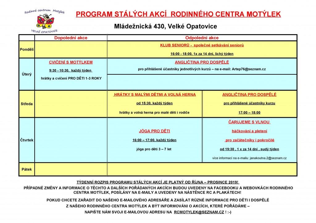 Rc-program stálých akcí od ŘÍJNA 2019