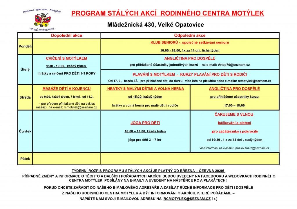 Rc-program stálých akcí od BŘEZNA 2020