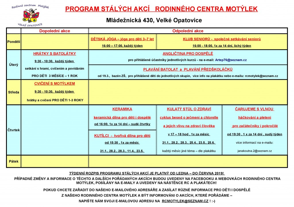 Rc-program stálých akcí od LEDNA 2019