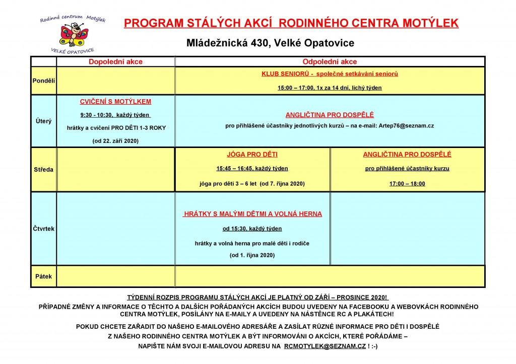 Rc-program stálých akcí od ZÁŘÍ 2020