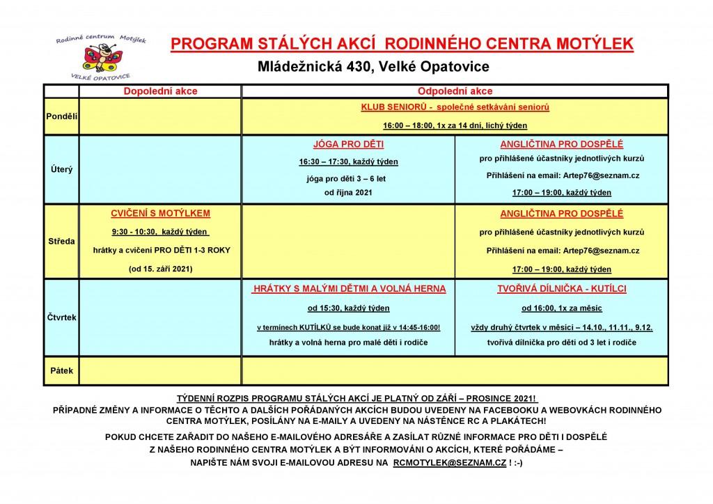 Rc-program stálých akcí od ZÁŘÍ 2021
