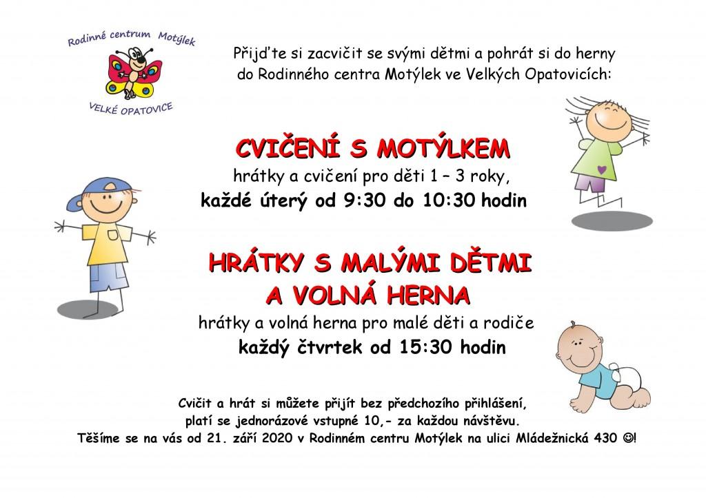 cvičení dětí v Motýlku OD ZÁŘÍ 2020