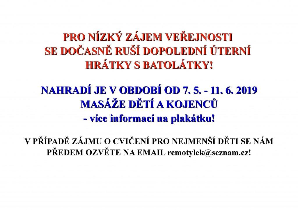 oznámení o zrušení Hrátek s batolátky