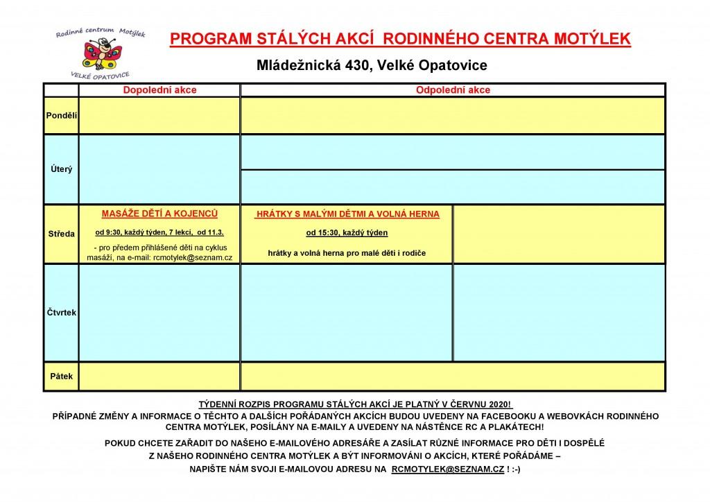 Rc-program stálých akcí červen 2020